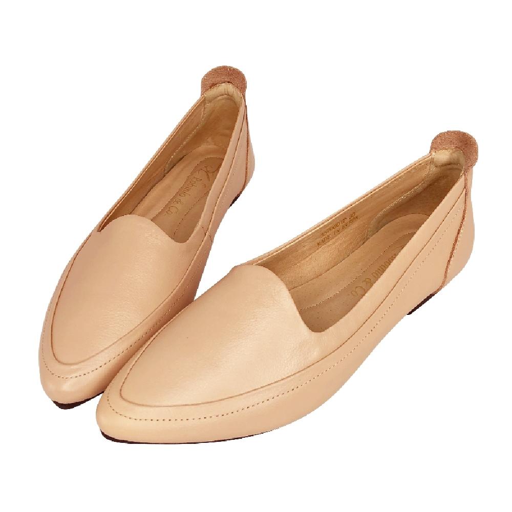Robinlo全真皮法式浪漫簡約尖頭全真皮平底鞋  米白/可可/杏/黑