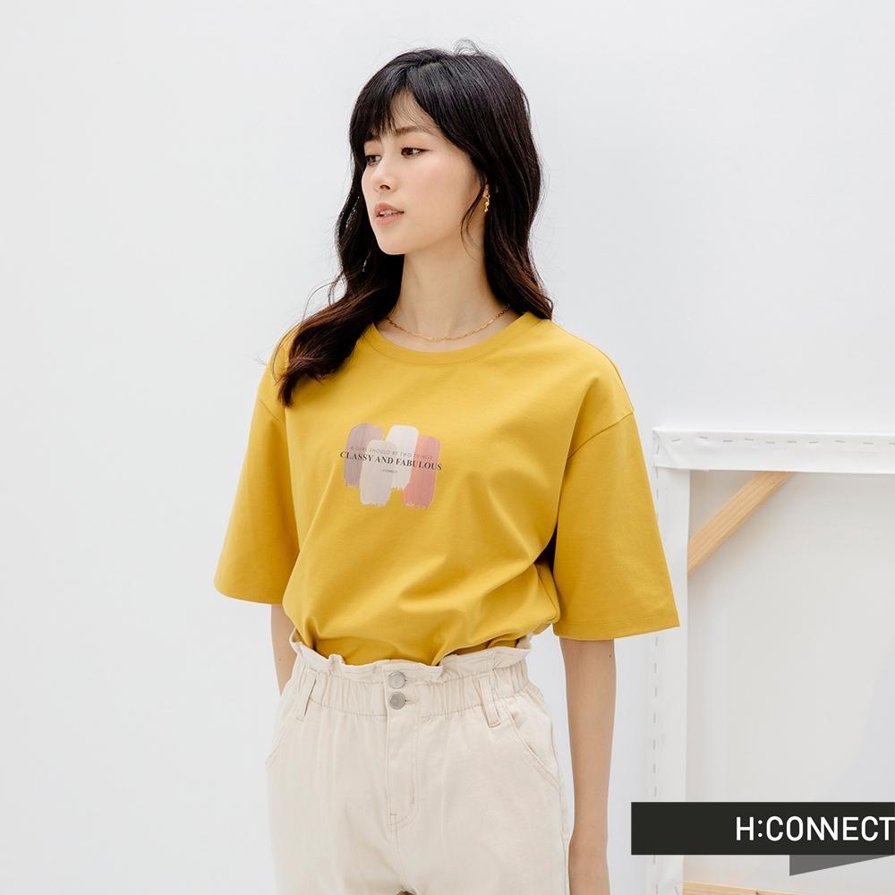 H:CONNECT 韓國品牌 女裝 -繽紛水彩圖印T-Shirt-黃色
