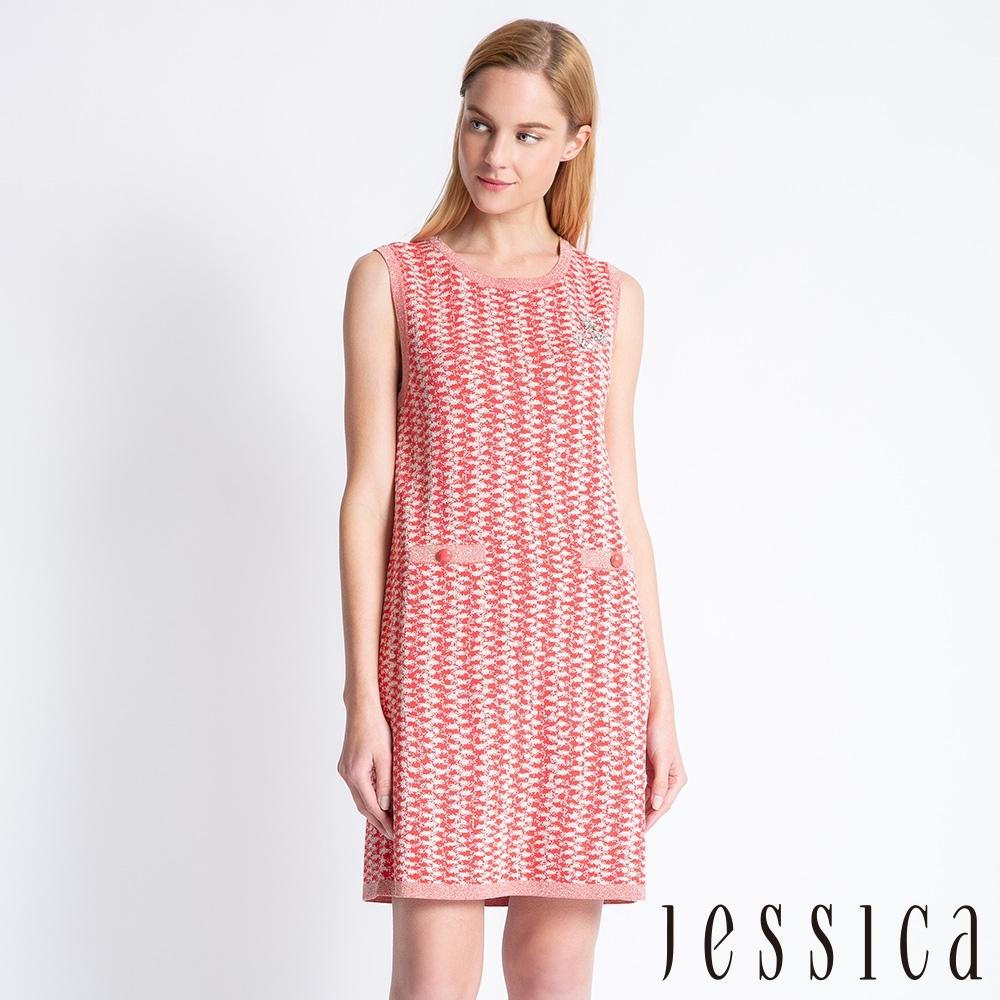 JESSICA - 高雅小香風針織鑽飾設計洋裝(紅)