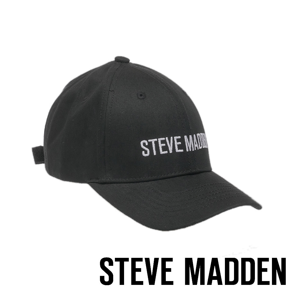STEVE MADDEN - 時尚經典品牌LOGO刺繡鴨舌帽 - 黑色