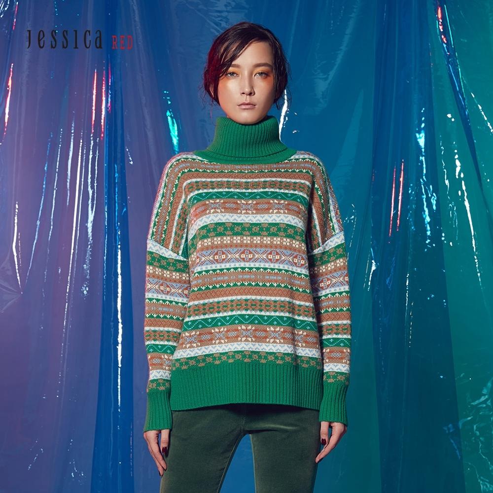 JESSICA RED - 高領條紋圖騰毛衣(綠)