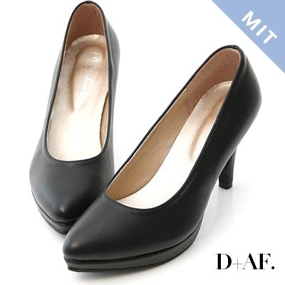 D+AF 美腿比例.MIT素面尖頭8cm高跟鞋*黑