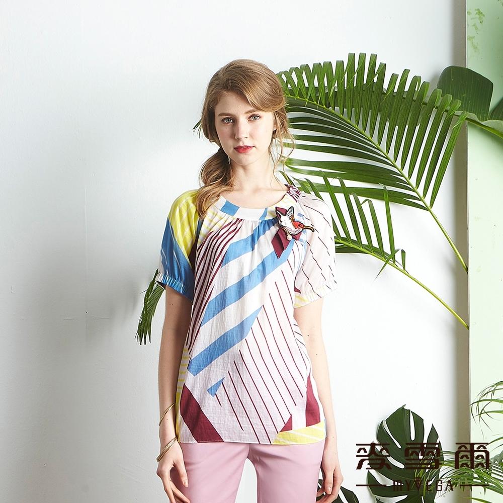麥雪爾 絲棉鑽飾小鳥繽紛條紋上衣