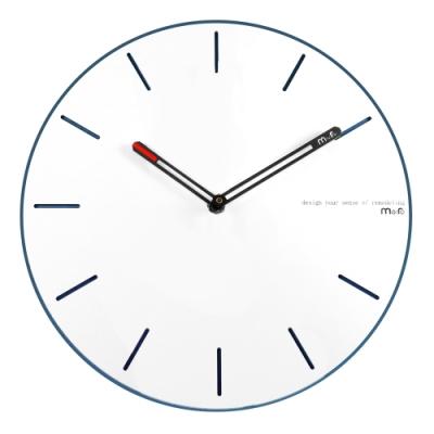 簡約時尚 現代居家 清新百搭 北歐風 無印風 靜音 圓掛鐘 - 白藍色 / 12吋