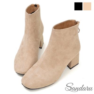 山打努SANDARU-靴子 法式簡約圓釦拉鍊短靴