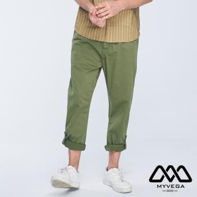 MYVEGA MAN可調節撞色鈕扣長褲-綠