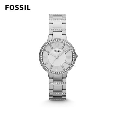 FOSSIL VIRGINIA 羅馬數字不鏽鋼女錶-銀色水鑽 約30mm ES3282