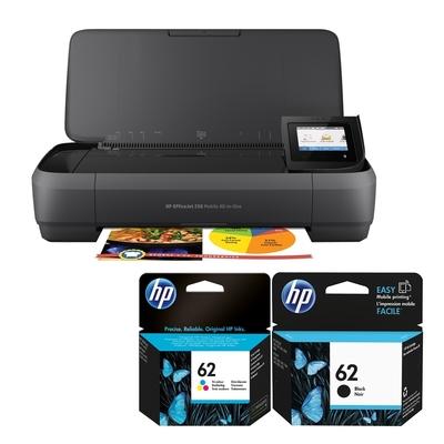 HP OfficeJet 250 Mobile 商用噴墨行動複合機+HP NO.62 1黑1彩(藍紅黃) 原廠墨水匣