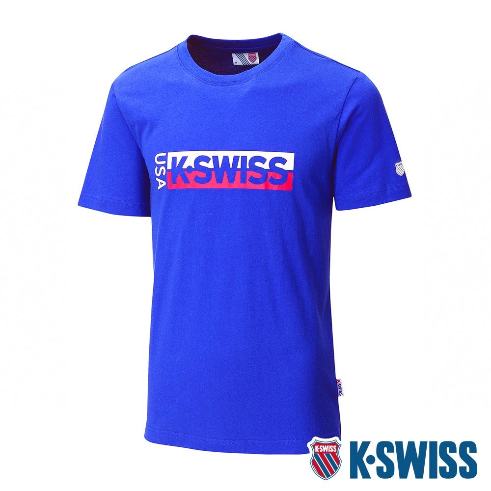 K-SWISS KS USA Tee印花短袖T恤-男-藍
