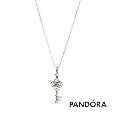 【Pandora官方直營】花飾鑰匙雙色項鏈