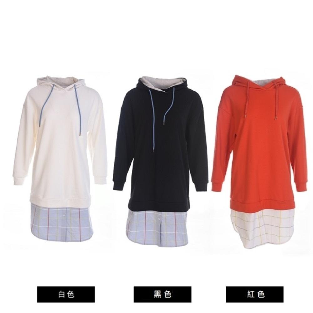 gozo-運動連帽造型拼接洋裝(三色) product image 1