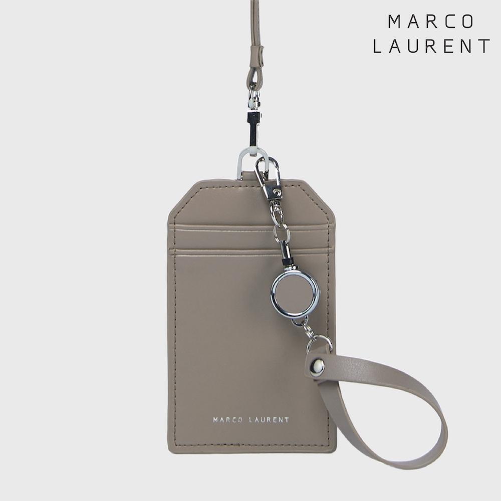 MARCO LAURENT 真皮頸掛證件套 / 伸縮票卡夾雙件組-駝色