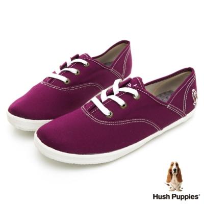 Hush Puppies 學院風基本款咖啡紗帆布鞋-深紫