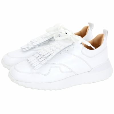 TOD'S 可拆鉚釘豆豆流蘇飾片繫帶運動鞋(白色)