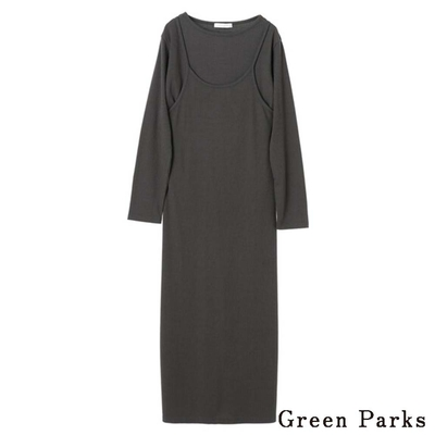 Green Parks 【SET ITEM】羅紋圓領上衣+剪裁吊帶背心裙