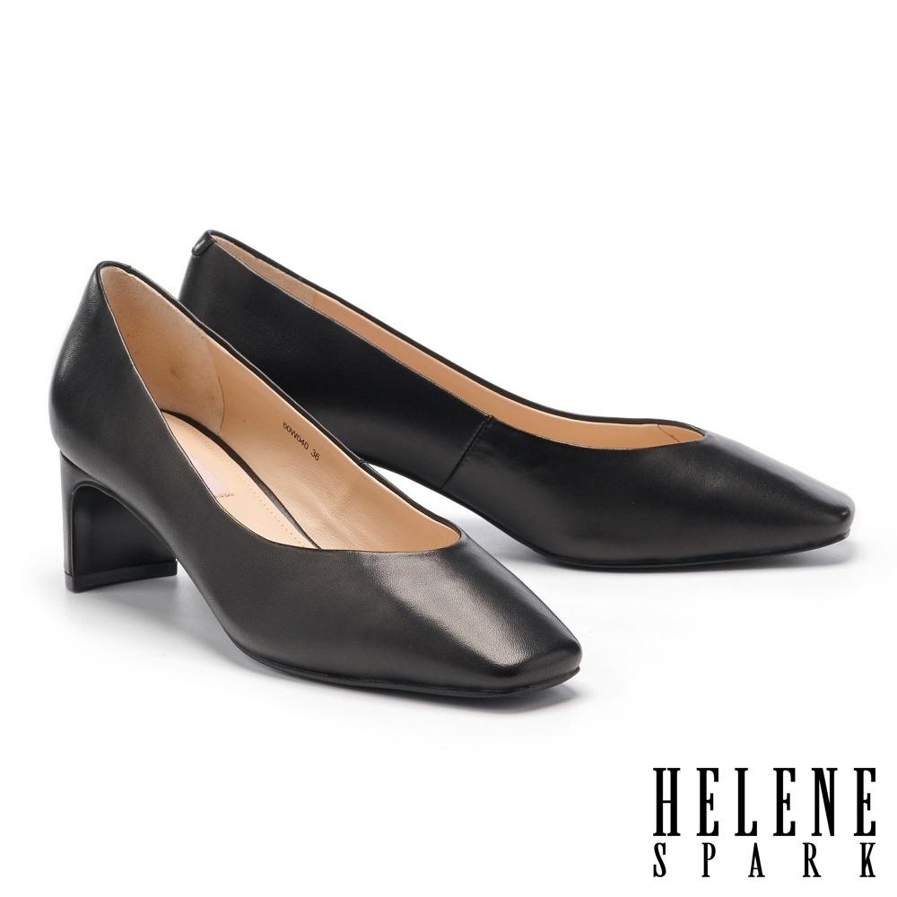 高跟鞋 HELENE SPARK 簡約質感羊皮方頭扁平造型高跟鞋-黑