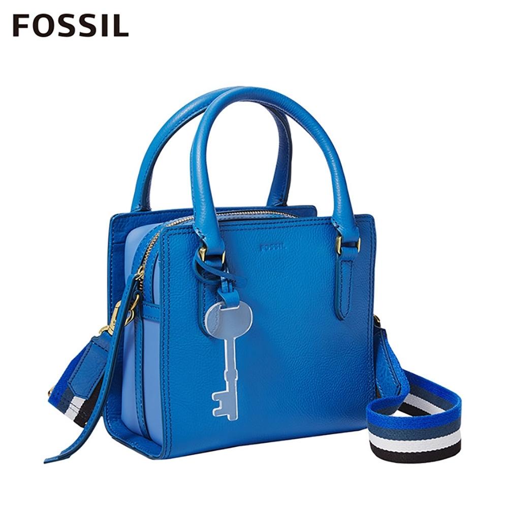 FOSSIL HOPE 多彩條紋織帶手提/側揹包-天藍色  ZB7910965