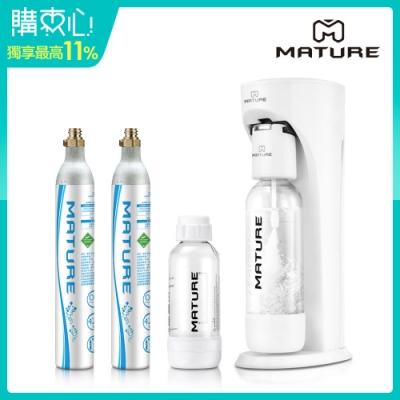 MATURE美萃 Classic410系列氣泡水機-珍珠白(425g氣瓶2支)