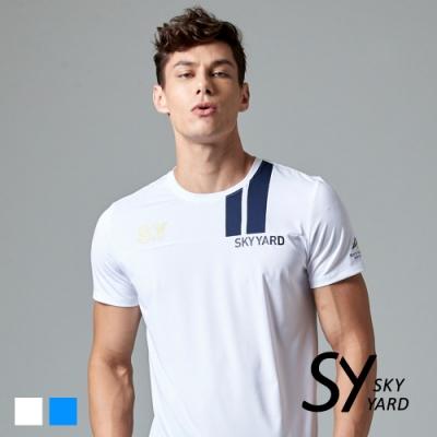 【SKY YARD 天空花園】色塊字體印花運動T恤-白色