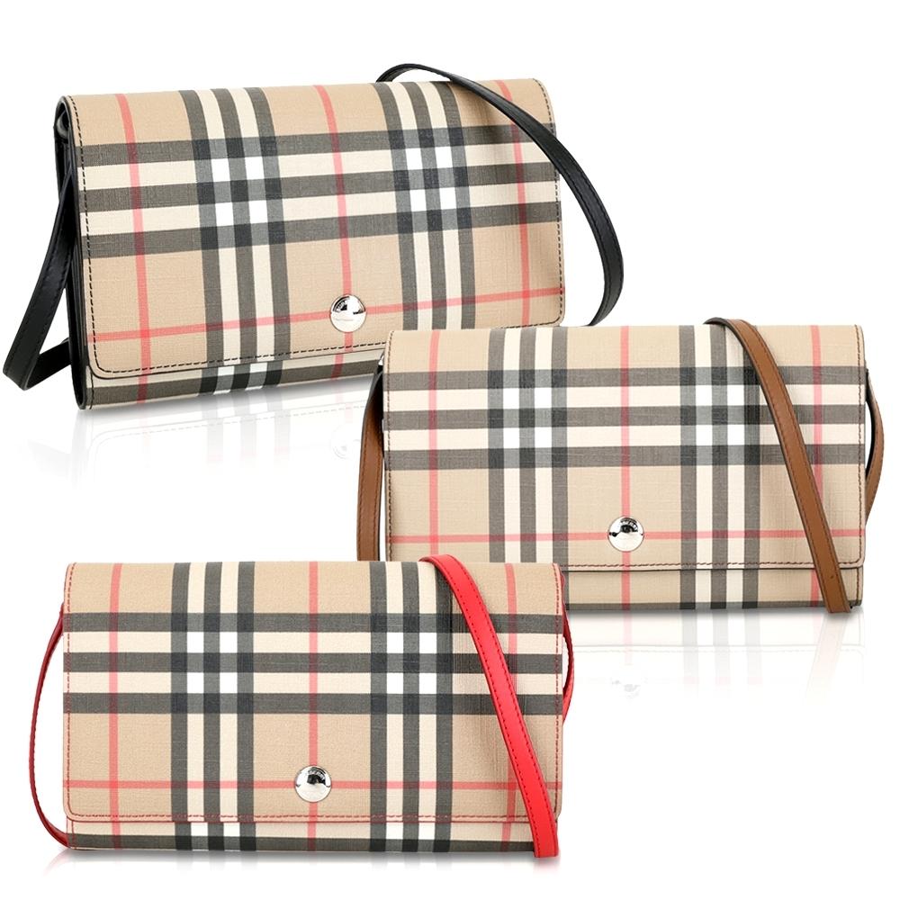 [官網價25500 下殺54折] BURBERRY Vintage 格紋環保帆布長夾/肩背包-3色可選