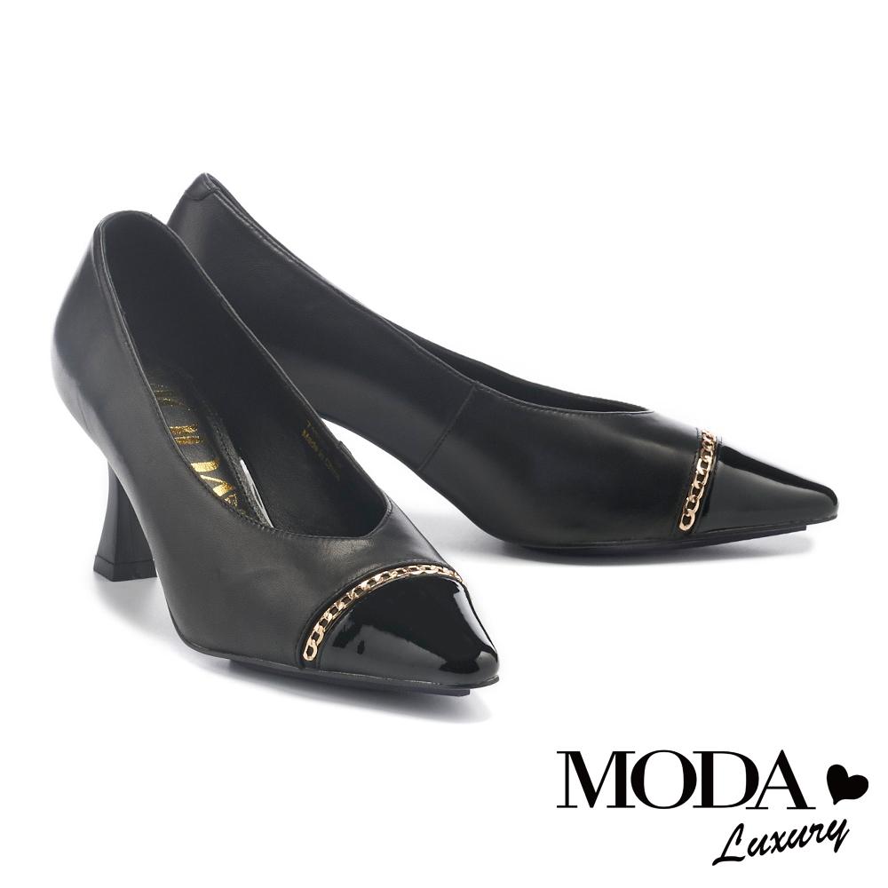 高跟鞋 MODA Luxury 時髦個性金鏈材質拼接尖頭高跟鞋-黑
