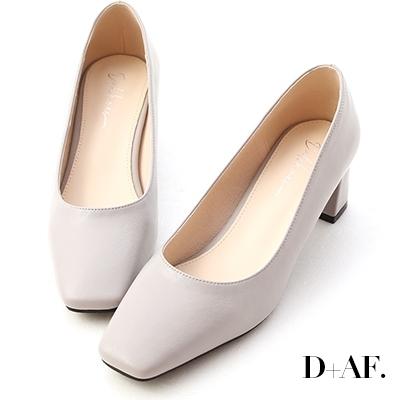 D+AF 輕透春氛.素面方頭中跟鞋*灰