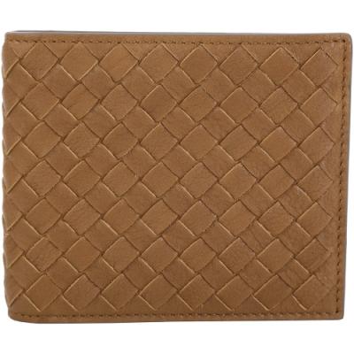 BOTTEGA VENETA BI-FOLD 小牛皮編織拼色對折短夾(棕x灰)
