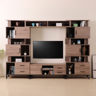 D&T 德泰傢俱 BROOK淺胡桃木9.2尺電視收納櫃組280*41.5*195.5cm