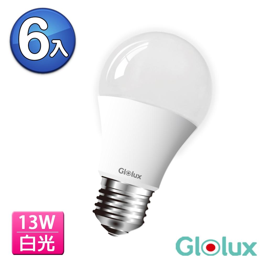 (6入) Glolux 1400流明超高亮度13W節能LED燈泡-白光