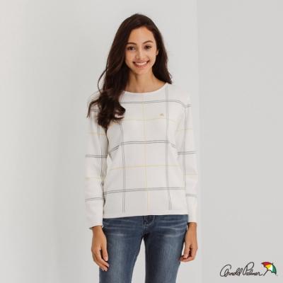 Arnold Palmer -女裝-提織格紋一字領線衫-白色