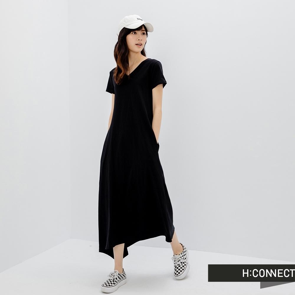 H:CONNECT 韓國品牌 女裝 - 下擺不規則修身長洋裝-黑色