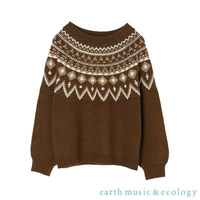 earth music 北歐風圖騰設計針織上衣