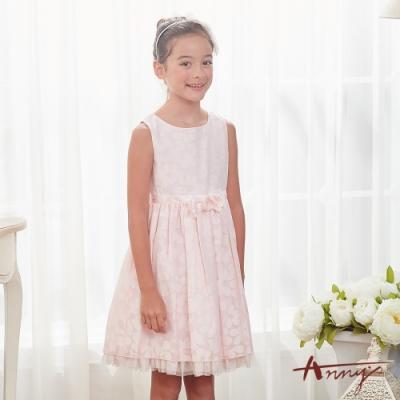 Annys安妮公主-擁抱花兒芬芳-花朵暗紋網紗裙立體玫瑰背心洋裝*8122粉紅