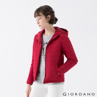 GIORDANO  女裝素色鋪棉連帽外套 - 24 標誌紅