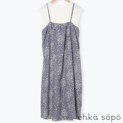 ehka sopo  【SET ITEM】碎花細肩帶洋裝+法式袖圓領T恤