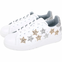Chiara Ferragni Roger 金銀星型亮片綁帶運動鞋(白色)