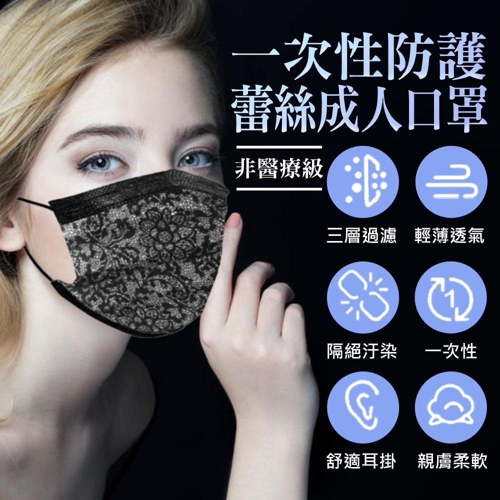 拋棄式成人口罩 時尚蕾絲風格(50入/包)