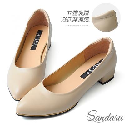 山打努SANDARU-OL工作鞋 日常3.5cm金屬滾邊尖頭低跟鞋-米