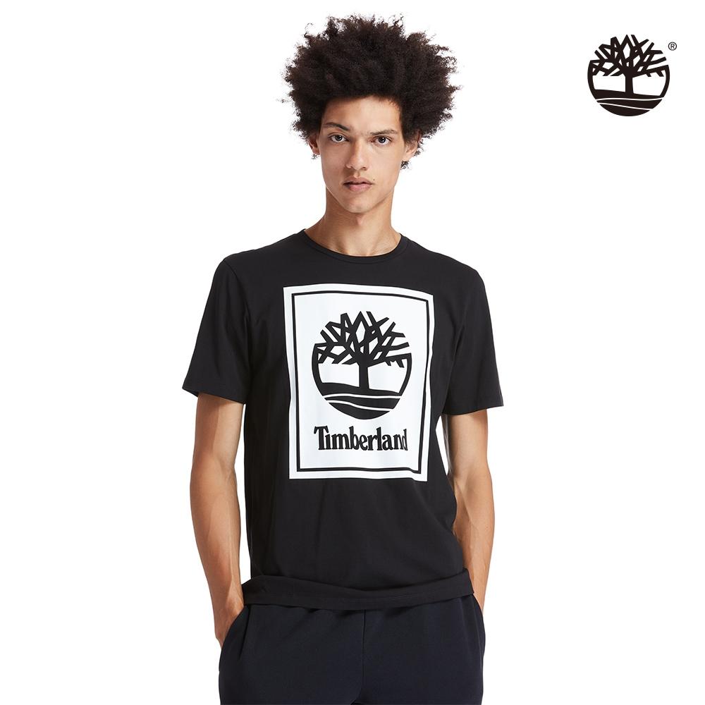 Timberland 男款黑色大樹印花有機棉短袖圓領T恤|A2AJ1