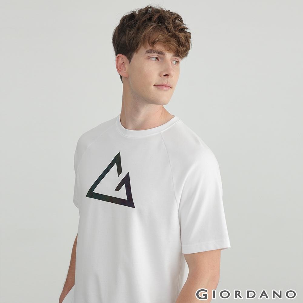 GIORDANO  男裝G-motion快乾棉T恤 - 01 標誌白