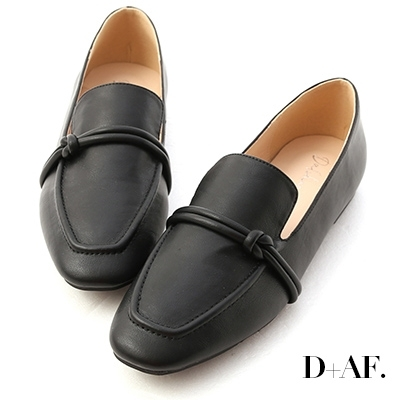 D+AF 清新女孩.雙線扭結平底樂福鞋*黑