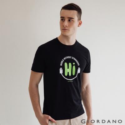 GIORDANO 男裝Greeting印花T恤 - 34 標誌黑
