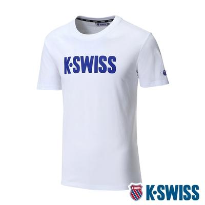 K-SWISS Contrast Logo Tee棉質吸排T恤-男-白