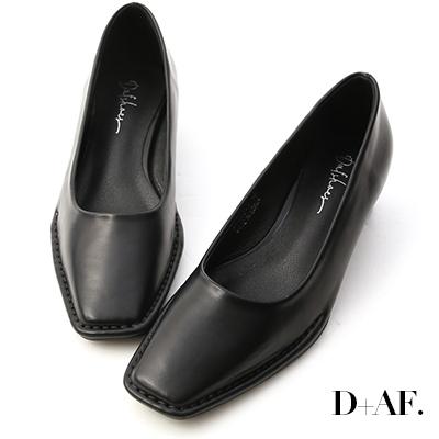 D+AF 神秘色調.獨特車線方頭中跟鞋*黑