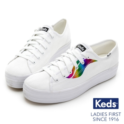 Keds TRIPLE KICK 彩色霓虹Logo厚底綁帶帆布鞋-白