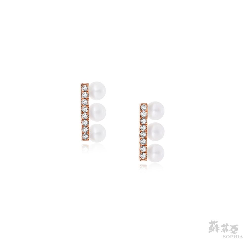 SOPHIA 蘇菲亞珠寶 - 清新典雅 14K玫瑰金 鑽石耳環