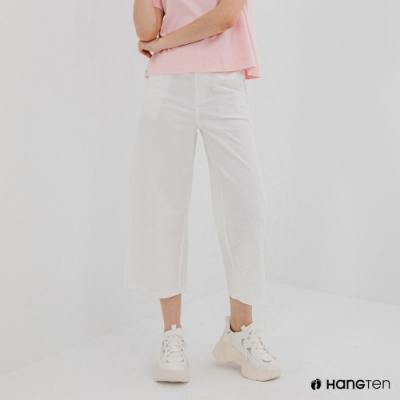 Hang Ten-女裝-WIDE LEG FIT鬆緊腰頭九分褲-白色