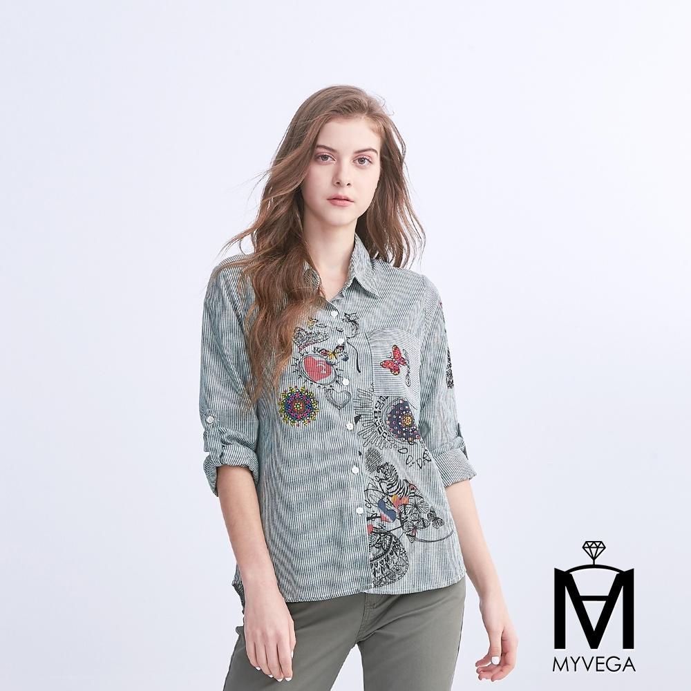 麥雪爾 MA燙鑽童趣印花條紋襯衫
