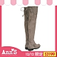 Ann'S貼腿版-獨創防滑膠條超窄版防水絨布過膝靴-可可 product thumbnail 1