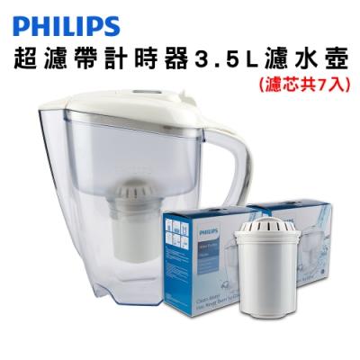 PHILIPS 飛浦利 超濾帶計時器3.5L濾水壺(白) AWP2920 +濾芯*2超值組(濾芯共7入)